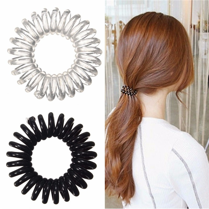 New 3pcs Clear Elastic Rubber Hairband Black Ponytail Stretchy ... 2b9726831d8