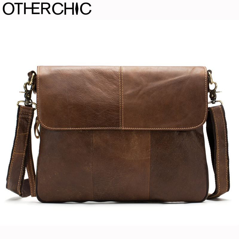 OTHERCHIC Genuine Leather Bags Men High Quality Messenger Bags Vintage Travel Dark Brown Crossbody Shoulder Bag For Men 7N06-40 xi yuan 2017 genuine leather bags men high quality messenger bags small travel dark brown crossbody shoulder bag for men gifts