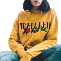 2017 Casual Spring Autumn Fashion Rose Print Letter Yellow Sweatshirts Long Sleeve Harajuku Women Hoodies Pullover