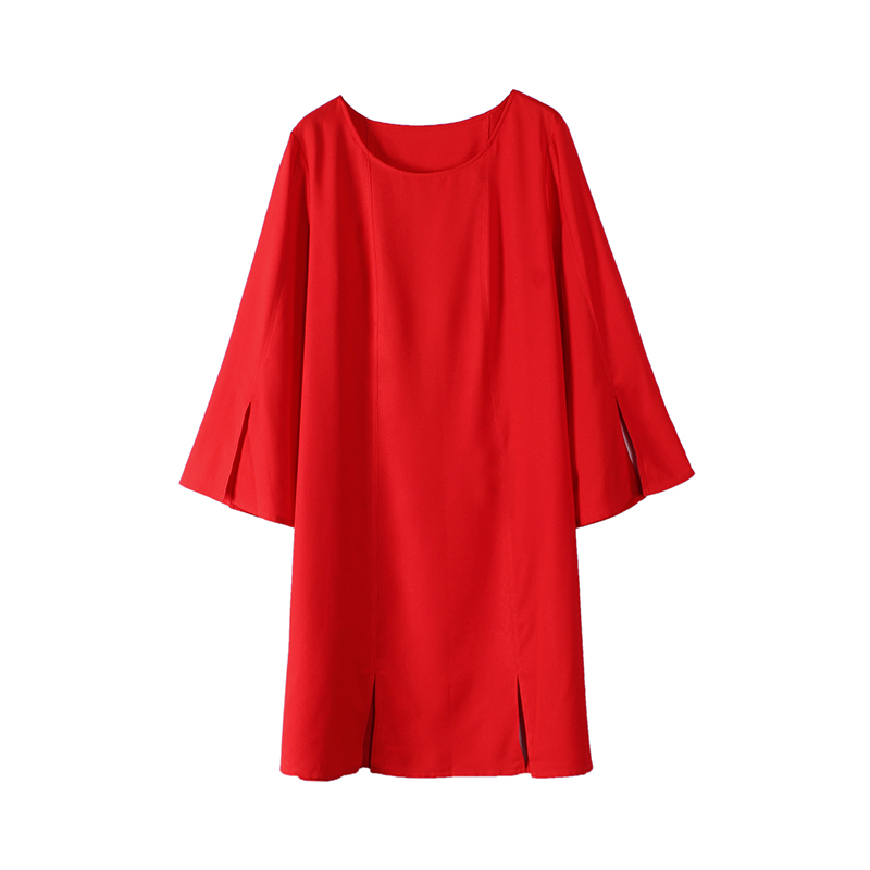 Summer Plus Size Beautiful Women Office Dresses 2018 Elegant 6xl 7xl Long Sleeve Party Red Dress Retro Chiffon Side Slit Dresses
