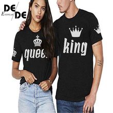 King Queen Lovers Tee T Shirt Imperial Crown Printing Couple Clothes lovers Femme Summer