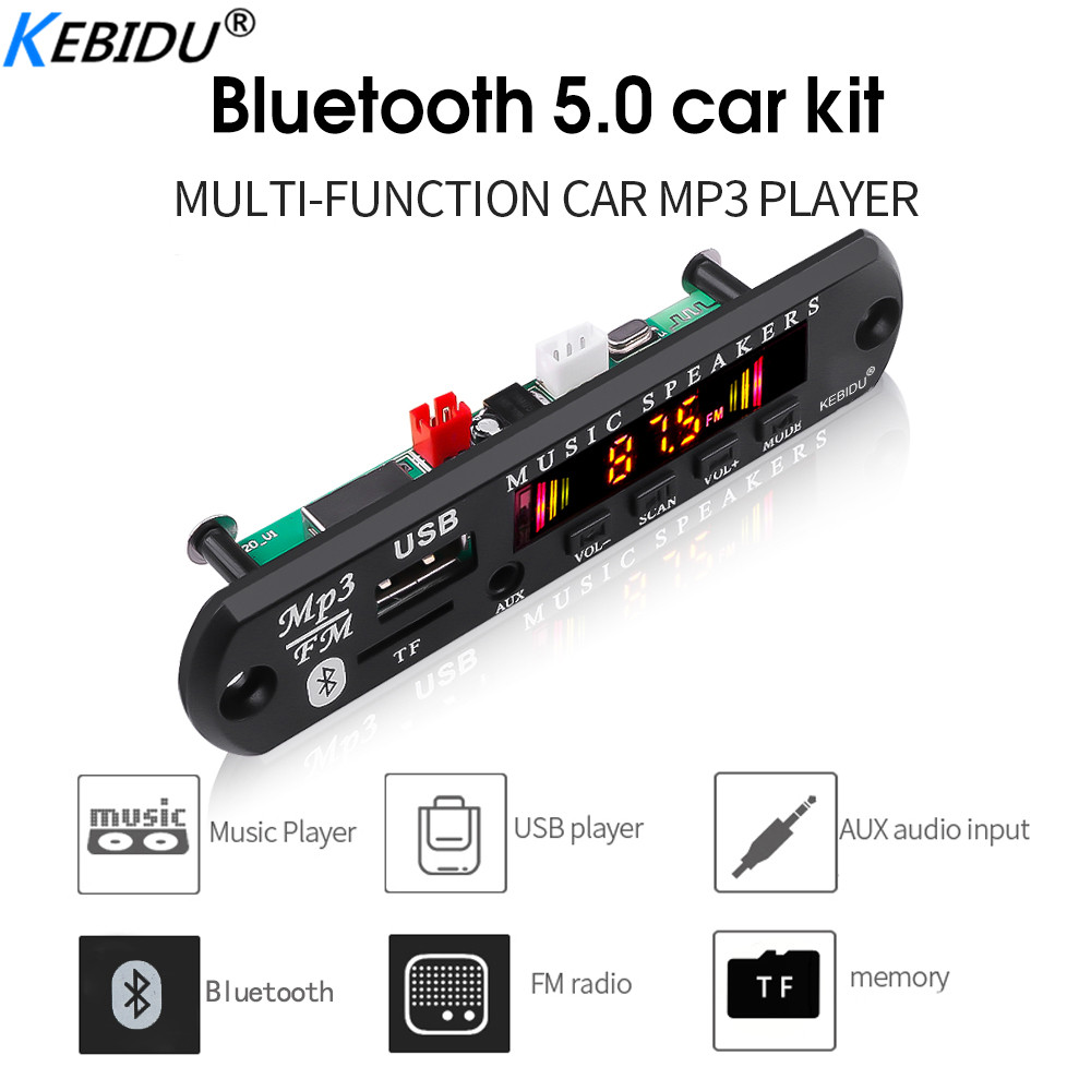 Kebidu <font><b>MP3</b></font> Auto <font><b>Player</b></font> Drahtlose Bluetooth 5,0 DC 5V 12V <font><b>MP3</b></font> WMA Decoder Board Audio Modul <font><b>USB</b></font> FM TF Radio AUX Eingang Für Auto image