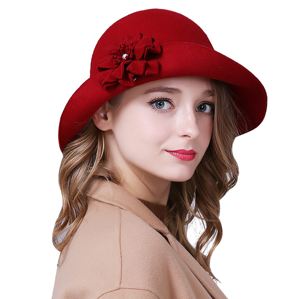 Ladies Fascinator Hats Floral  Wool Fedoras for Women Winter Royal Princess Church Caps Party Red Bowler Hat