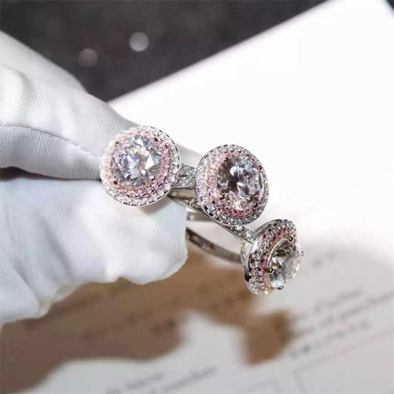 Real 925 แหวนเงินสเตอร์ลิงสำหรับสตรีสีขาวและสีชมพู Cubic Zirconia หมั้นเครื่องประดับเจ้าสาวอุปกรณ์เสริม