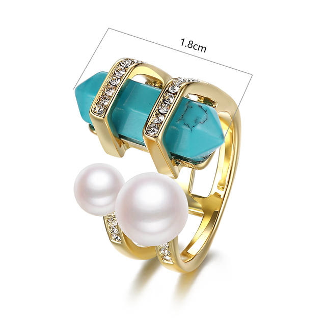 Bohemia Gold Plated Ring with Double Simulated Pearls