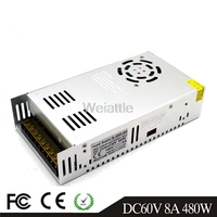 60V 8A 480W LED Light Belt Driver Switching Power Supply 110/220VAC DC60V Constant Voltage Transformer Monitoring CCTV CNC Motor