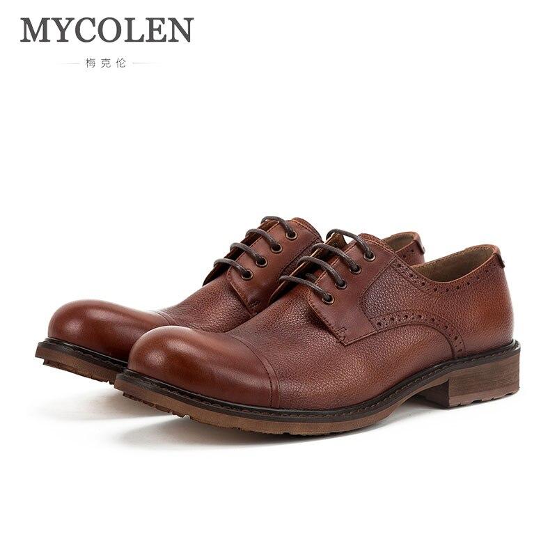 MYCOLEN Hot 2018 Men'S Genuine Leather Business Dress Shoes Luxury Fashion Spring Autumn Men Fashion Lace-Up Casual Shoes lace panel casual shift dress fashion