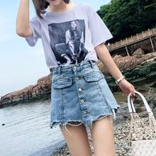 M jeans female summer shorts Slim fake two pieces 2019 high waist buckle street fashion straight