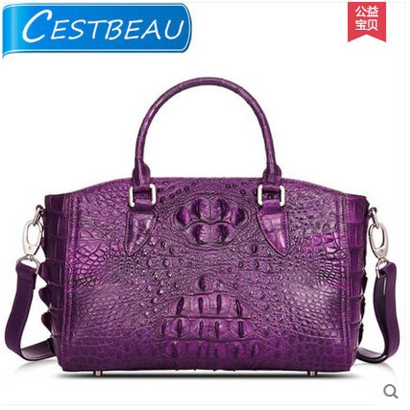 Cestbeau True Lady Crocodile Handbag Shoulder Inclined Bag Purple European And American Fashion In Bags From Luggage On