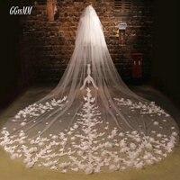 Romantic White Bride Veiling Married Flower Ivory Wedding Veils 3 Meter Long Tail Bridal Veil 2018
