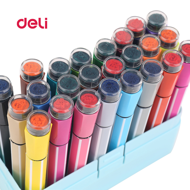 Deli Cute Kid Drawing water color Pens 24 Color Set Stamp Children seal Washable Watercolor Pen Graffiti Art Marker Painting Pen deli s557 marker pen