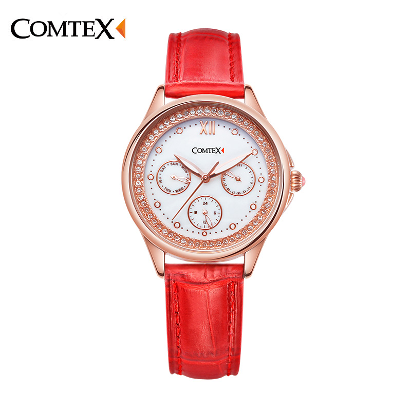 ФОТО Comtex 2017 Red Women Watches Leather Strap Multifunction Watch Brand Quality Quartz Watch Ladies Waterproof  Wristtwatch