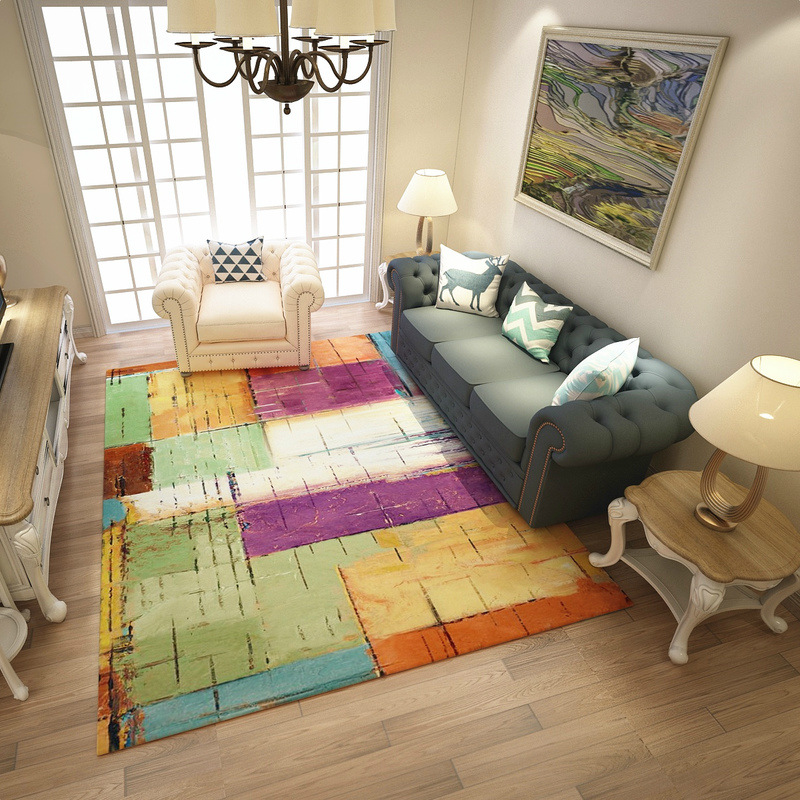 Modern Colorful Abstract Carpets For Living Room Art Rugs For Bedroom Study Restaurant Floor Mat Soft