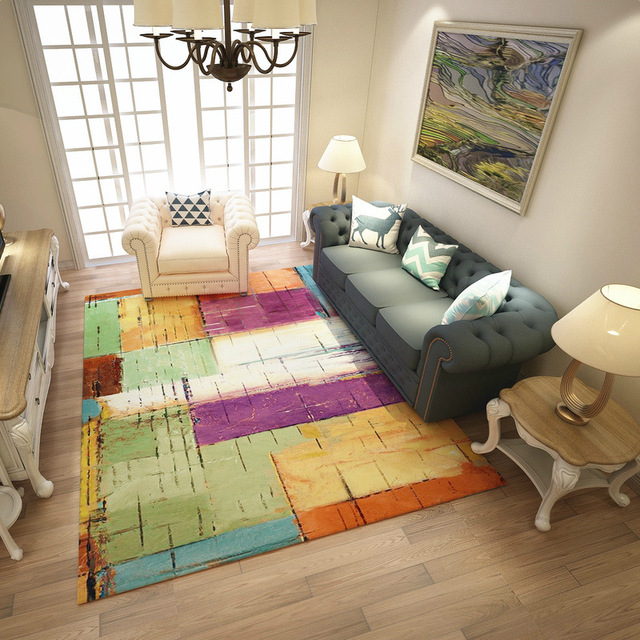 Modern Colorful Abstract Carpets For Living Room Art Rugs For Bedroom  Study/Restaurant Floor Mat