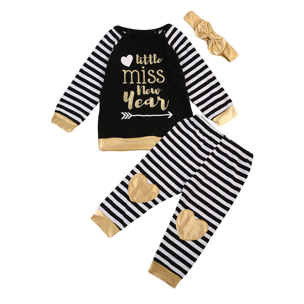 3pcs Toddler Baby Boy Girl T-shirt Striped Pants Outfits Clothes Set Cotton Casual Long Sleeve Autumn Winter Coat Sets 2pcs children outfit clothes kids baby girl off shoulder cotton ruffled sleeve tops striped t shirt blue denim jeans sunsuit set