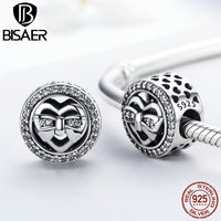BISAER Exclusive Cute 925 Sterling Silver Bow Knot Beads Heart Charms Fit Pandora Necklaces Bracelets Friendship