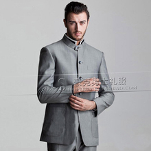 Men's brand fashion slim Chinese tunic suit bridegroom wedding dress formal dress stage costumes S-5XL free shipping (top+pant)