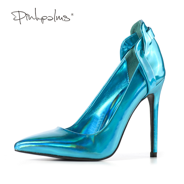 Pink Palms spring Autumn Newest Shoes High heels Pointed Toe Pumps Shiny  Blue Gold Basic Shoes 46abeb12e