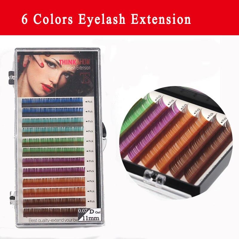 0.07 Thickness C/D Curl Colors Eyelash Extension Korea Silk Volume Eyelash 3D Natural Long Color Eye Lashes