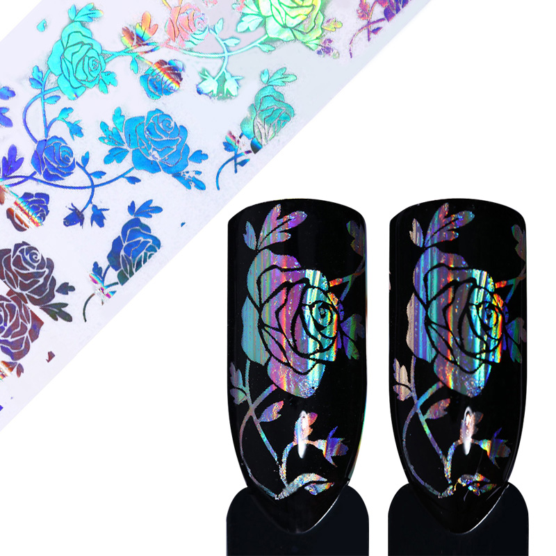 4*100cm Holographic Starry Nail Foil Rose Flower Lace Manicure Nail Art Transfer Sticker Decals for Nail Art Decoration 9 rolls colorful flower nail foil 4 100cm holographic starry full fingernail manicure nail art transfer sticker