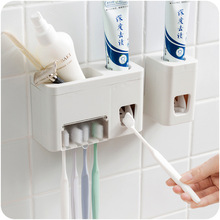 1pcs High Quality Plastic Full Automatic One-button Squeeze Toothpaste Extruder Set Toothbrush Shelf Sucker