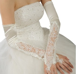 Image 2 - Long Wedding Gloves Lace Gloves Red Ultra Long Autumn And Winter Bridal Gloves Mittens White  G021