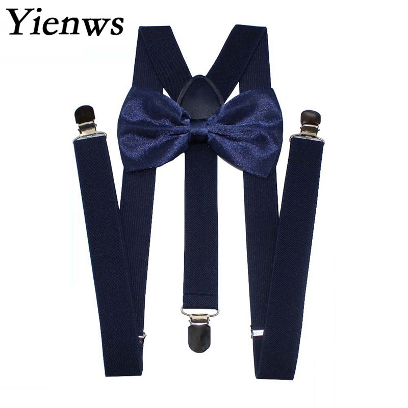 Yienws Mens Suspenders And Bow Tie Sets 120cm Navy Suspenders Men For Pants Women Braces Burgundy Bretels Tirantes Negros YiA153