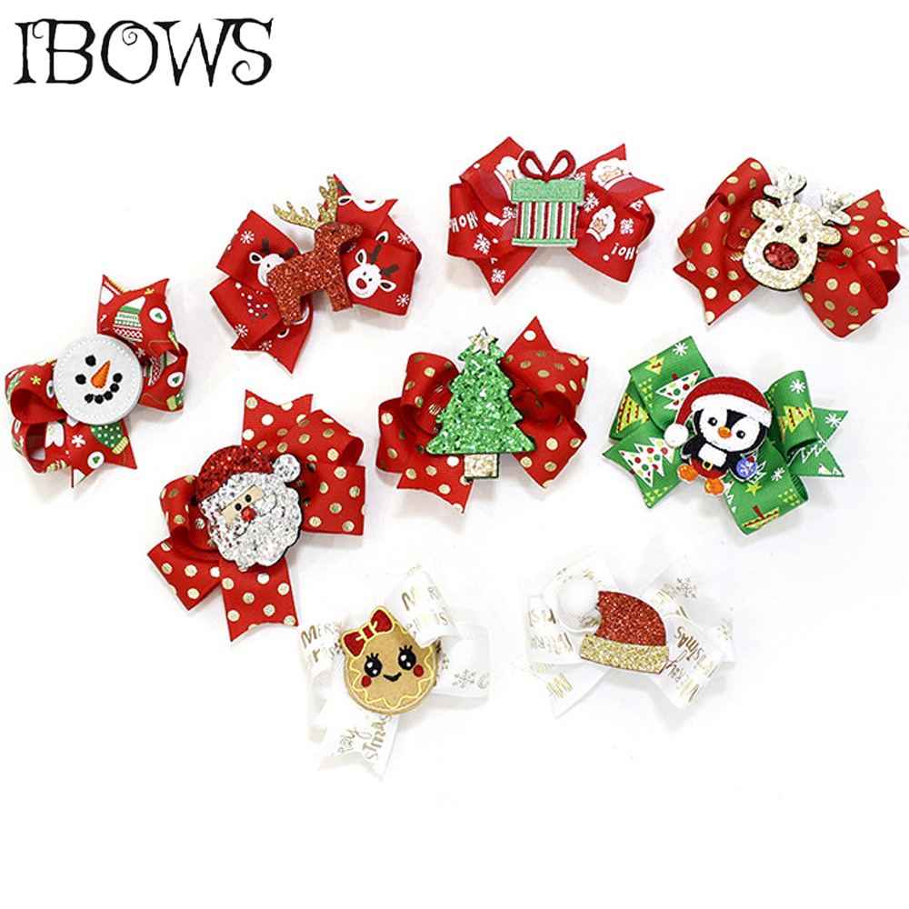 3 Pcs JOJO Girls Bows Hair Accessories 15 Colors Santa Claus Snowman Print