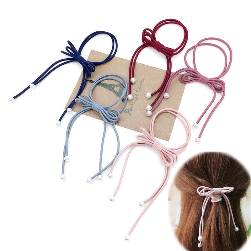 1PCS Elegant Bamboo Elastic Hair Bands Toys For Girls Handmade Knot Bow Two Rope Headband Scrunchy Hair Accessories For Women