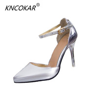 KNCOKAR In the summer of 2018 female new pointed side hollow out sandals, sexy fashion high heeled shoes heel shoes buckle a w