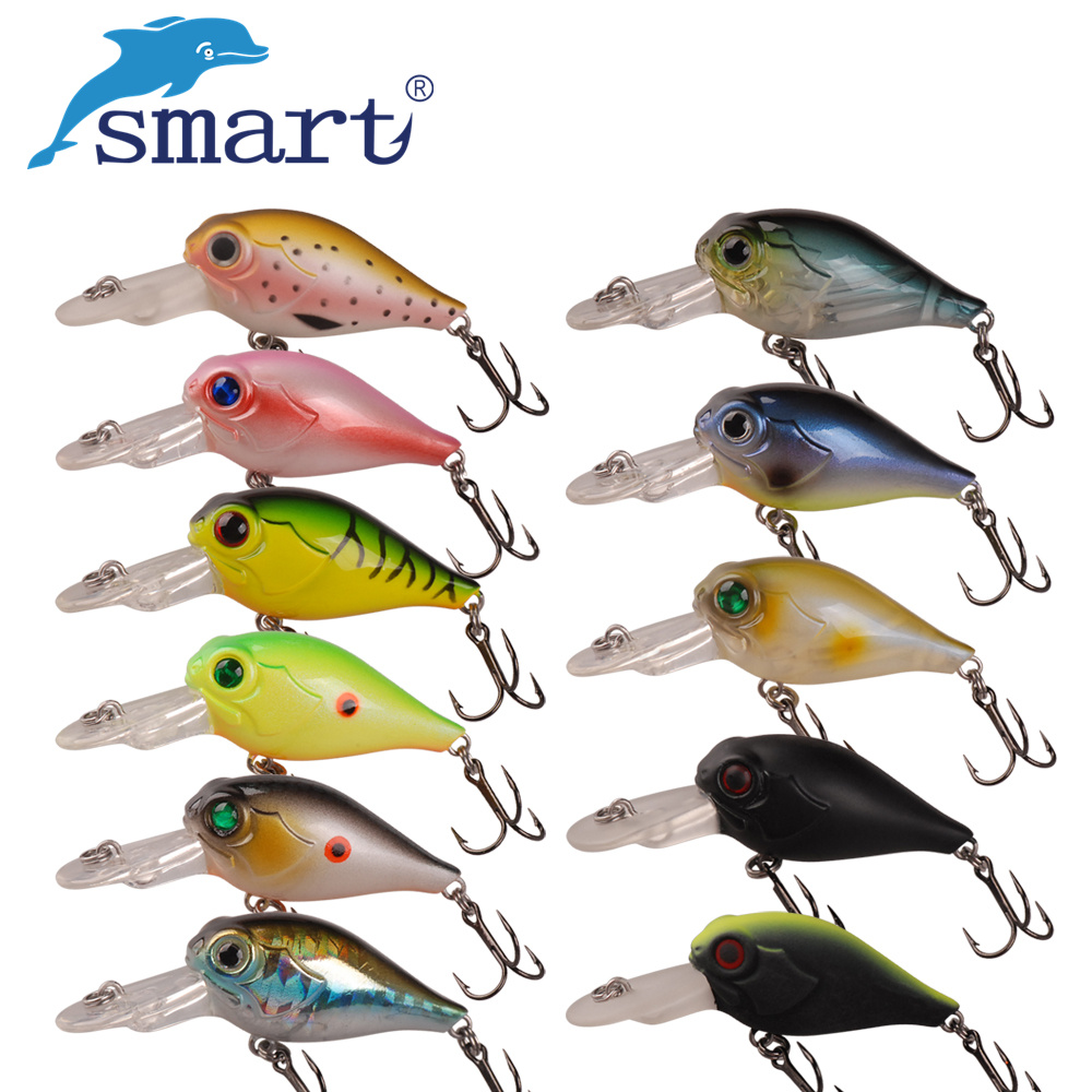 Smart Mini Crank bait 40mm/5g Hard Fishing Lure Crankbait Floating 1.5m VMC Hook Wobblers Artificial Bait For Sea Carp Fishing pro jewelry floating mini charms for floating locket