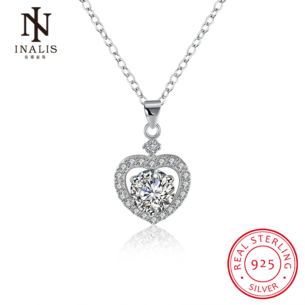 INALIS Wholesale 925 Sterling Silver Heart Necklace with Zircon Stone for Women Pendant Fine Jewelry