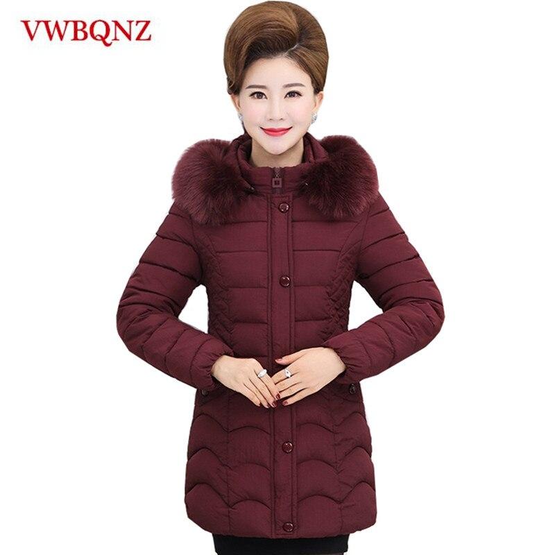 2018 Winter Women Coat Detachable Hooded Thicken Warm Mother Long Jacket Female Plus size 5XL Fur collar Outerwear   Parka   Ladies