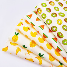 Body-Friendly Soft Cotton Twill Fabric For DIY Handmade Patchwork Material Kiwi/Pineapple/Watermelon/Banana/Duck Printed
