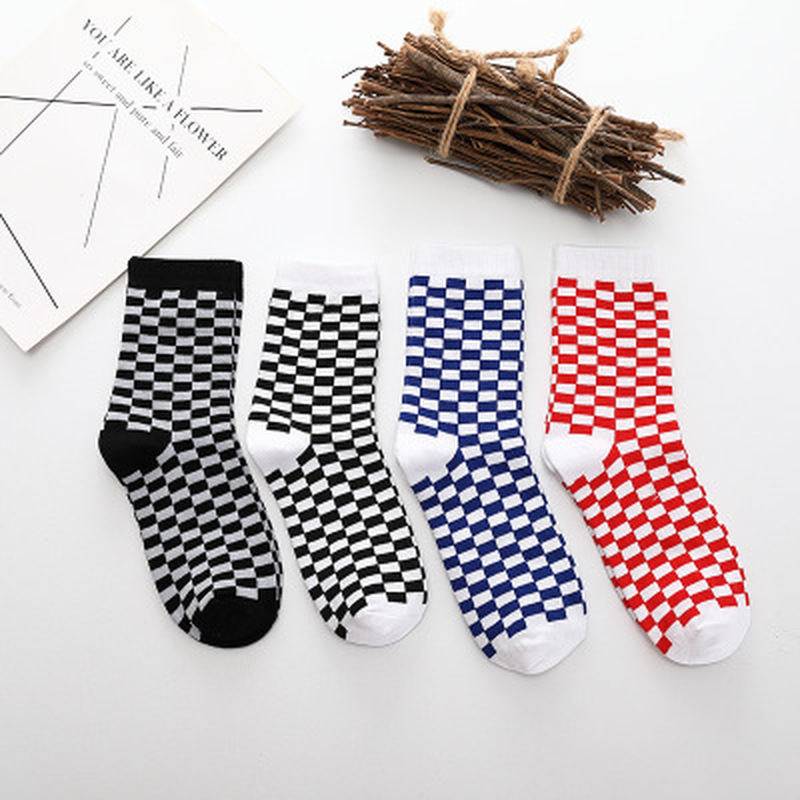 1 Pair Unisex Socks South Korea Ins Harajuku Street Checkered Socks Hip Hop Trends Man & Women Skateboard Cotton