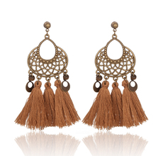 Women Fashion Boho Ethnic Vintage Statement Tassel Fringe Dangle Drop Earrings Retro Wedding Party Jewelry Ornament Accessories