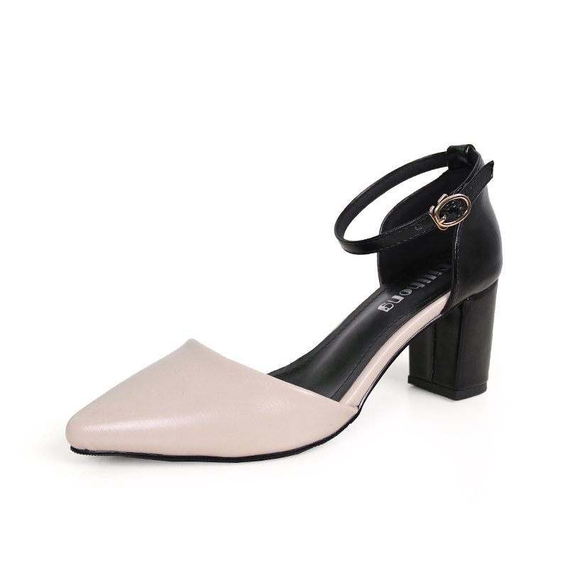 2018 spring and summer new small fresh word buckle single shoes female thick with hollow pointed high heels wild