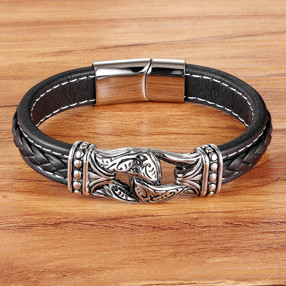 TYO 2019 New Arrival Neo-Gothic Style Magnificent Accessories Genuine Leather Bracelets & Bangles For Men Pulseiras Masculina
