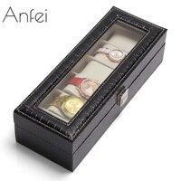 Watches Box PU Leather Box for Watches Storage Jewelry Display Watches Organizer Display Casket Glass Lid Jewelry Box C100 3