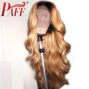 Image 2 - PAFF Ombre #27 vague de corps sans colle pleine dentelle perruques de cheveux humains 130 densité péruvienne Remy cheveux pré plumés ligne de cheveux naturelle