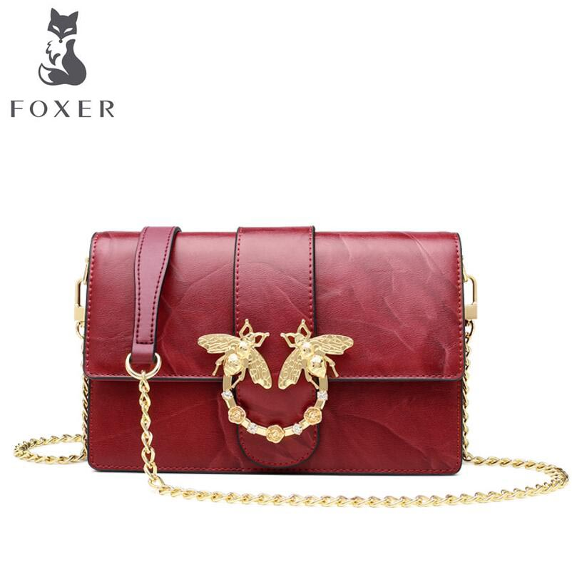 FOXER 2018 New women Leather bag designer summer fashion chains Cowhide small bag women leather Shoulder Crossbody Bags 2018 new foxer brand women leather bag high quality fashion chains women shoulder messenger bag cowhide black simple small bag