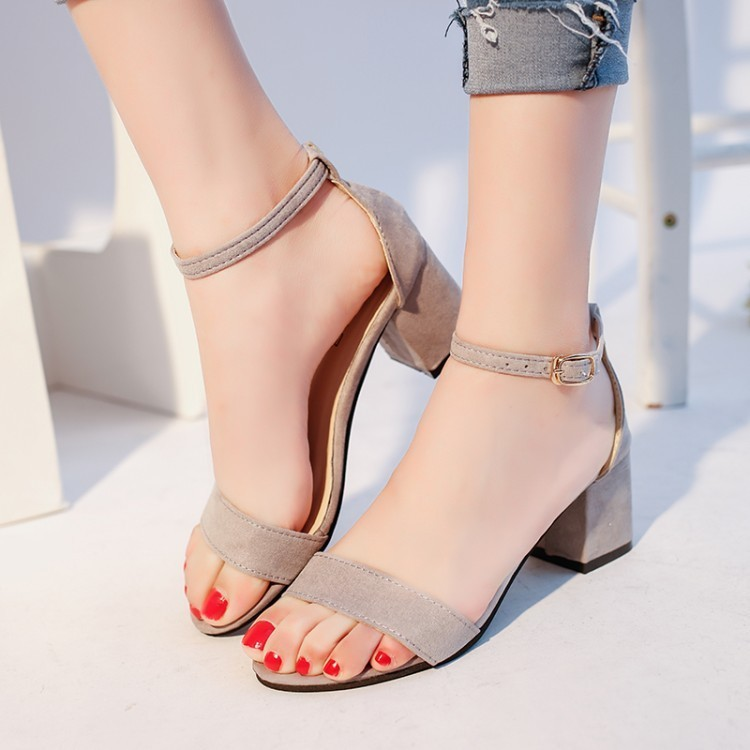 High-heeled female Coarse Heels Toe Buckle Rome Sandals Sandal Women Summer Shoes Sexy n ...