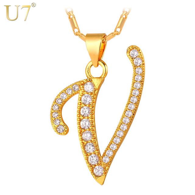 U7 Fashion V Letter Design Capital Initial Necklace Women Men