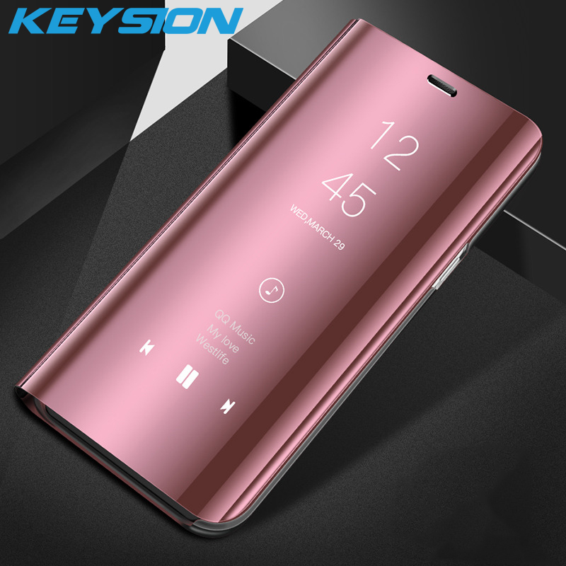 KEYSION Clear Smart View Mirror <font><b>Flip</b></font> Case For <font><b>OPPO</b></font> Reno R17 Pro F11 Pro Stand <font><b>Cover</b></font> Leather Case for <font><b>OPPO</b></font> <font><b>F9</b></font> F7 F5 Find X A7 A3 image