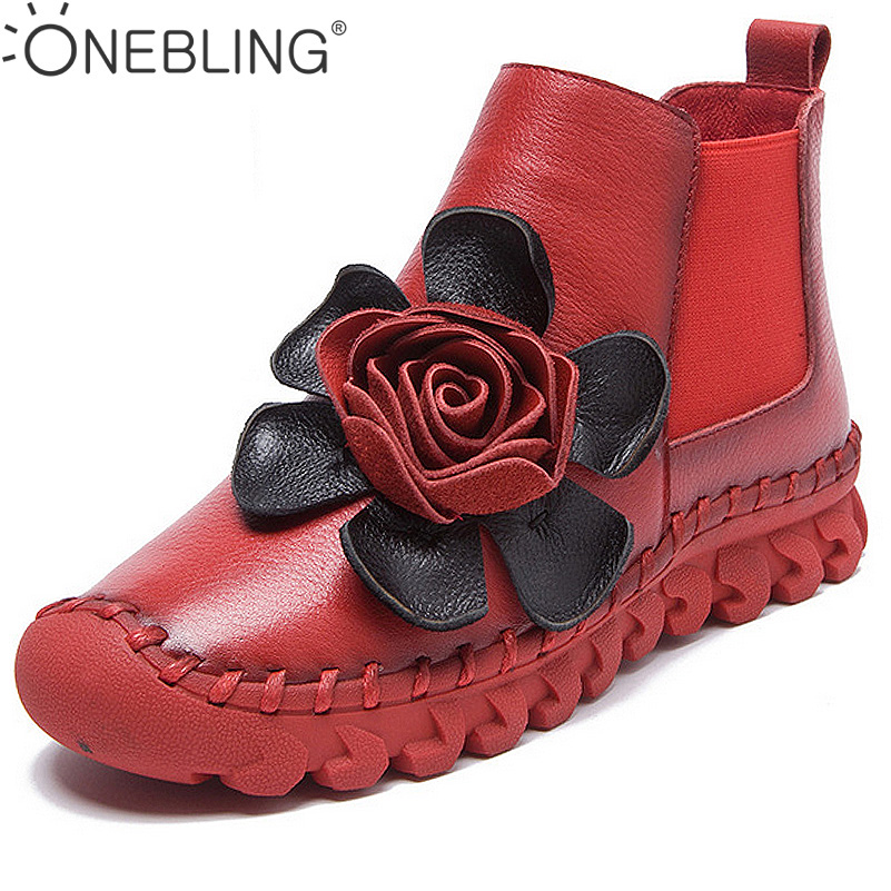 ONEBLING Fashion Big Flower Women Ankle Boots 2017 Winter Warm Genuine Leather Boots Soft Sewing Flat Shoes Casual Short Boots large size 34 40 2016 fall women ankle boots cowhide soft leather flower genuine leather women short boots flat with shoes lady