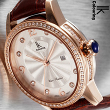 IK Colouring Watch Women Leather Strap Quartz Watch Wristwatch with Calendar 98453L-S with Gift Box