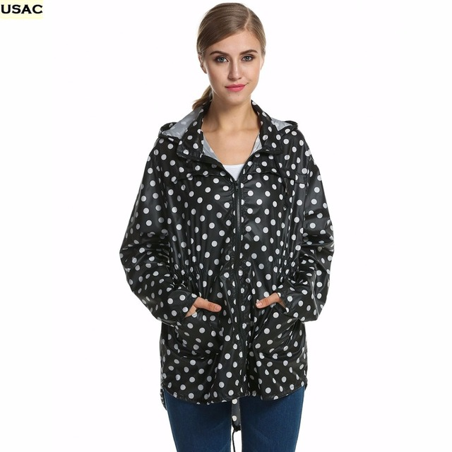 Women Girls Dot Raincoat Long Sleeve Fishtail Hooded Print Jacket Rain Coat Rainwear R20