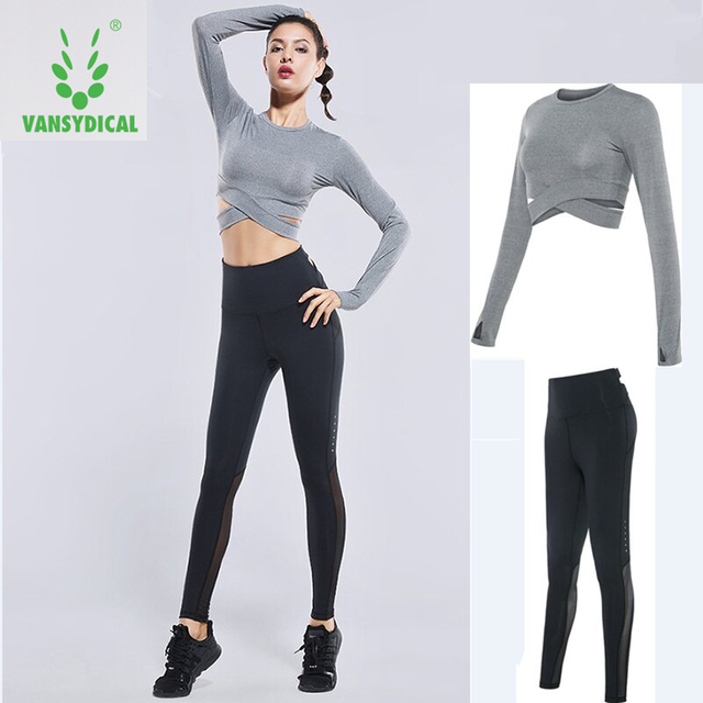 57aa17ce26511 Vansydical Sports Suits Women s Gym Clothes Yoga Set Elastic Running Tights  Fitness Training Clothing Jogging Suits