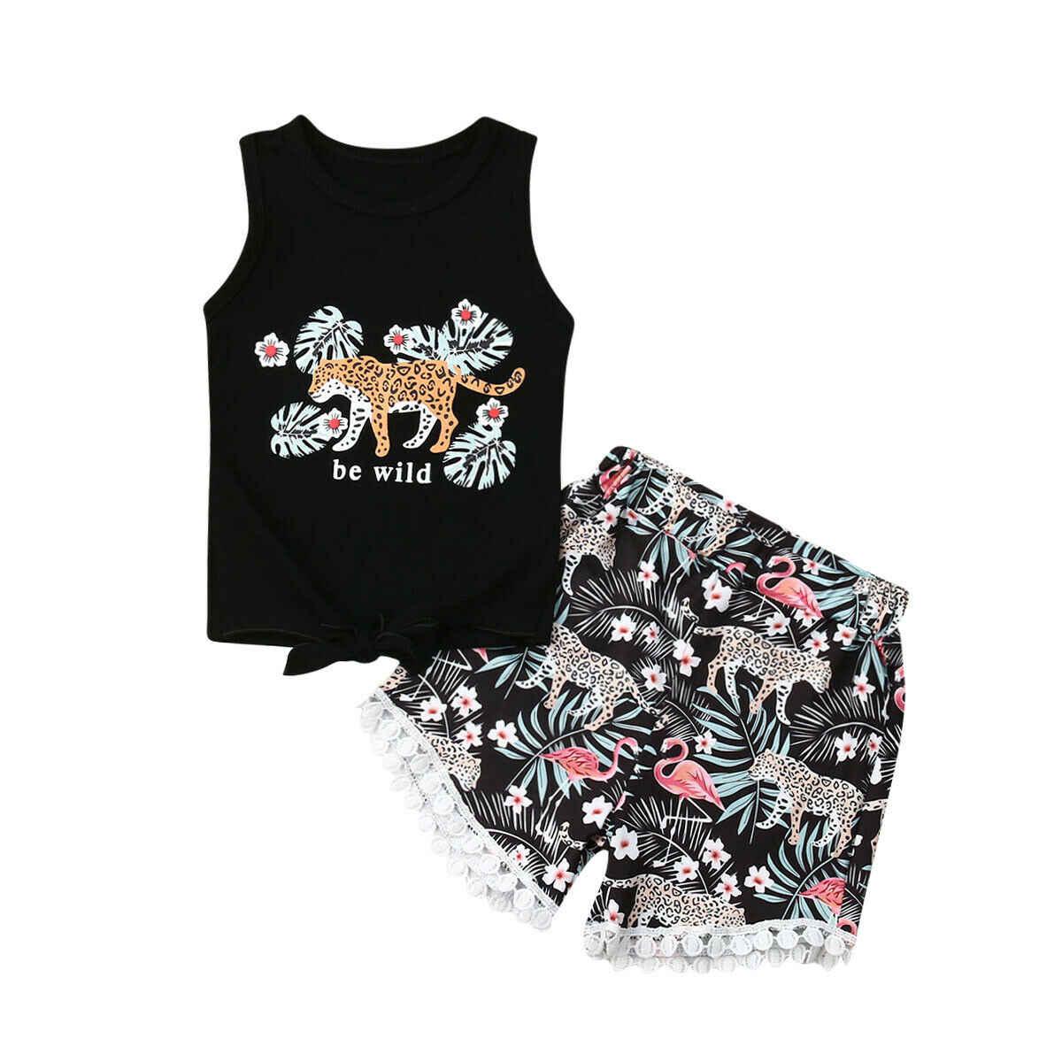 2019 男児カジュアル 2 個の夏の子供ノースリーブ黒プリントベストトップス + ヒョウ柄レースエッジショートパンツの衣装セット