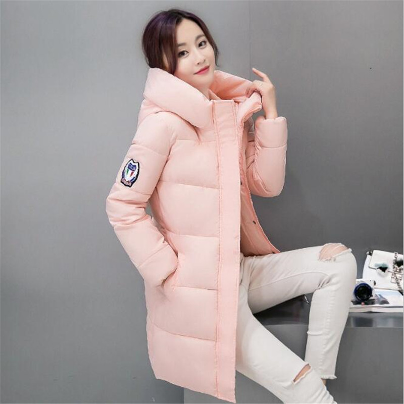 FORERUN Winter Long Coat Women Turtleneck Long Jacket with Hood Warm Cotton Padded   Parkas   Largas Mujer 2018